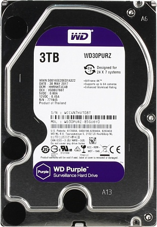 Жесткий диск WD Purple 3 ТБ